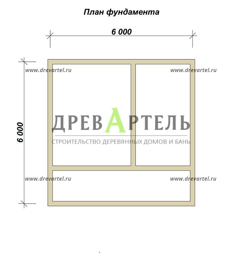 План ленточного фундамента - Деревянный дачный дом из бруса 6х6