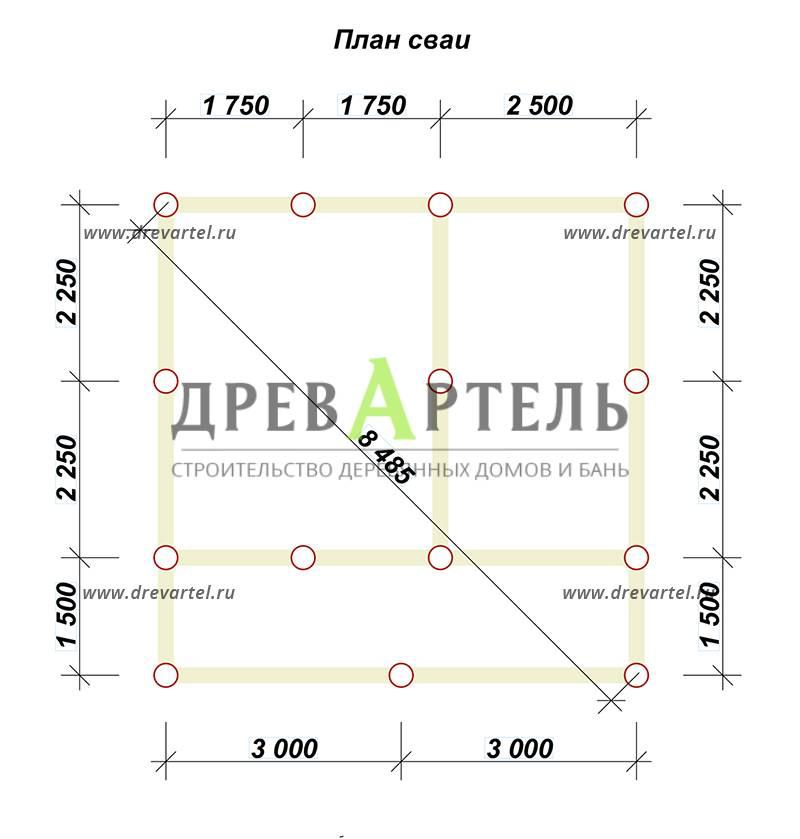 План свайного фундамента - Деревянный дачный дом из бруса 6х6