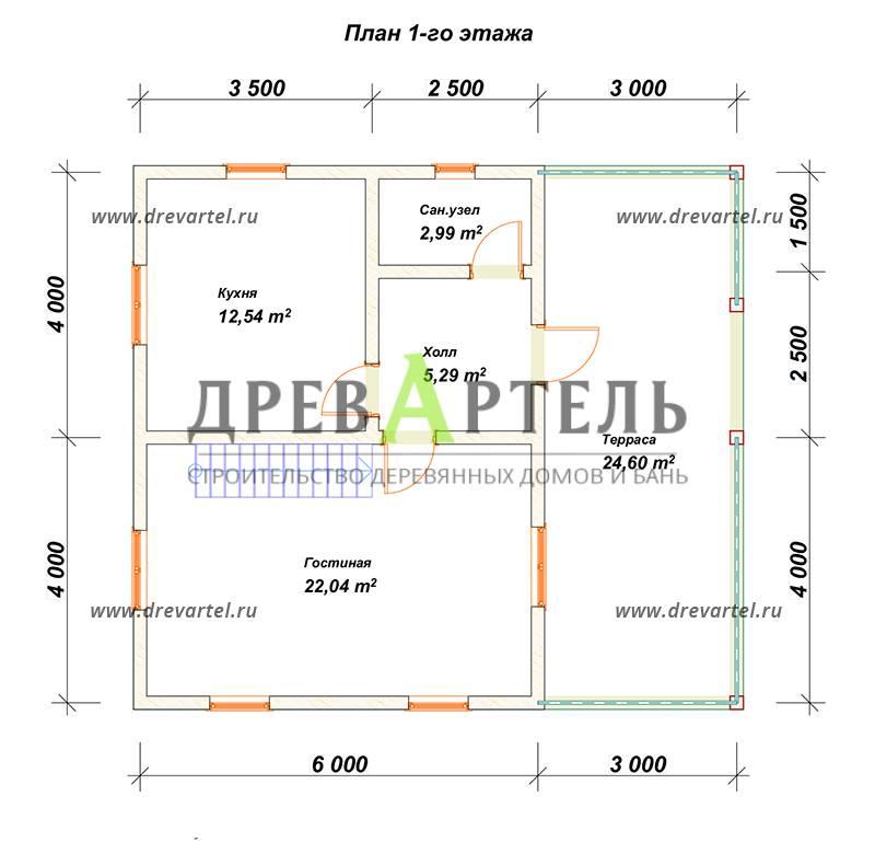 План 1-го этажа - Дом из бруса 8х9 с ломаной крышей