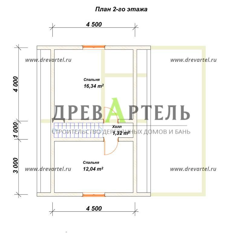 План 2-го этажа - Дом из бруса 8х9 с ломаной крышей