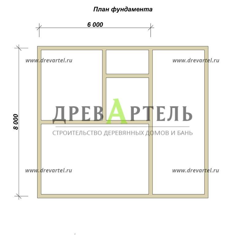 План ленточного фундамента - Дом из бруса 8х9 с ломаной крышей