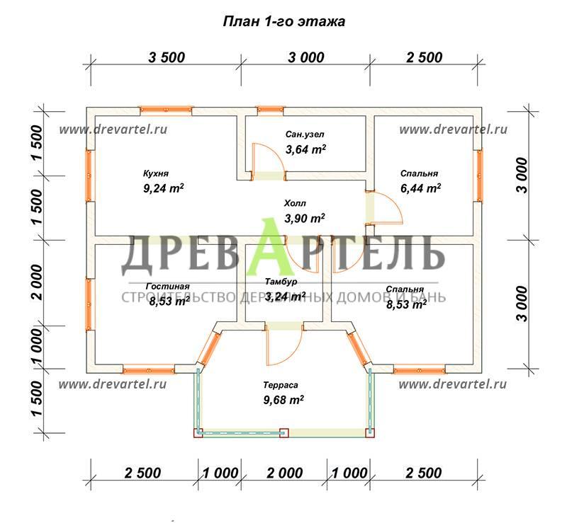 План 1-го этажа - Одноэтажный дом из бруса 6х9