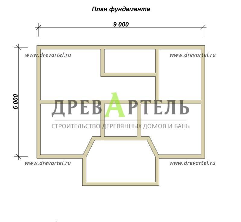 План ленточного фундамента - Одноэтажный дом из бруса 6х9