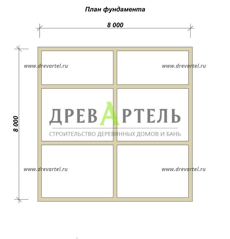 План ленточного фундамента - Одноэтажный дачный дом из бруса 8х8