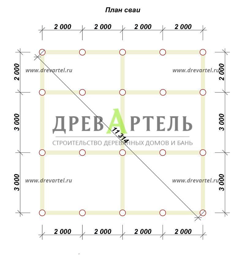 План свайного фундамента - Одноэтажный дачный дом из бруса 8х8