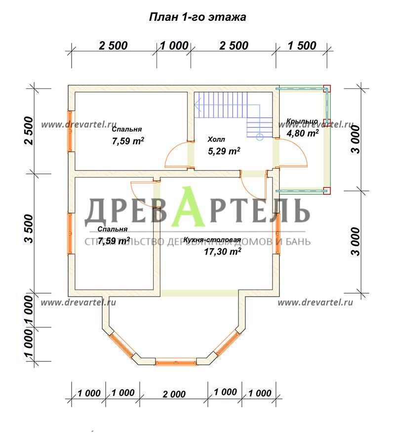 План 1-го этажа - Дом из бруса 6х8 с мансардой и эркером
