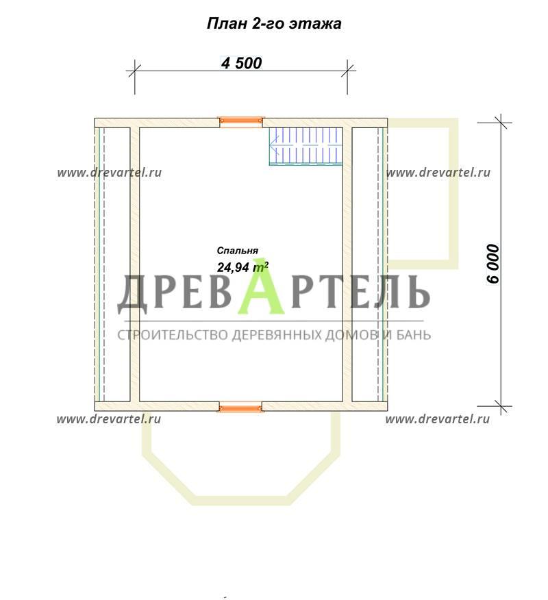 План 2-го этажа - Дом из бруса 6х8 с мансардой и эркером