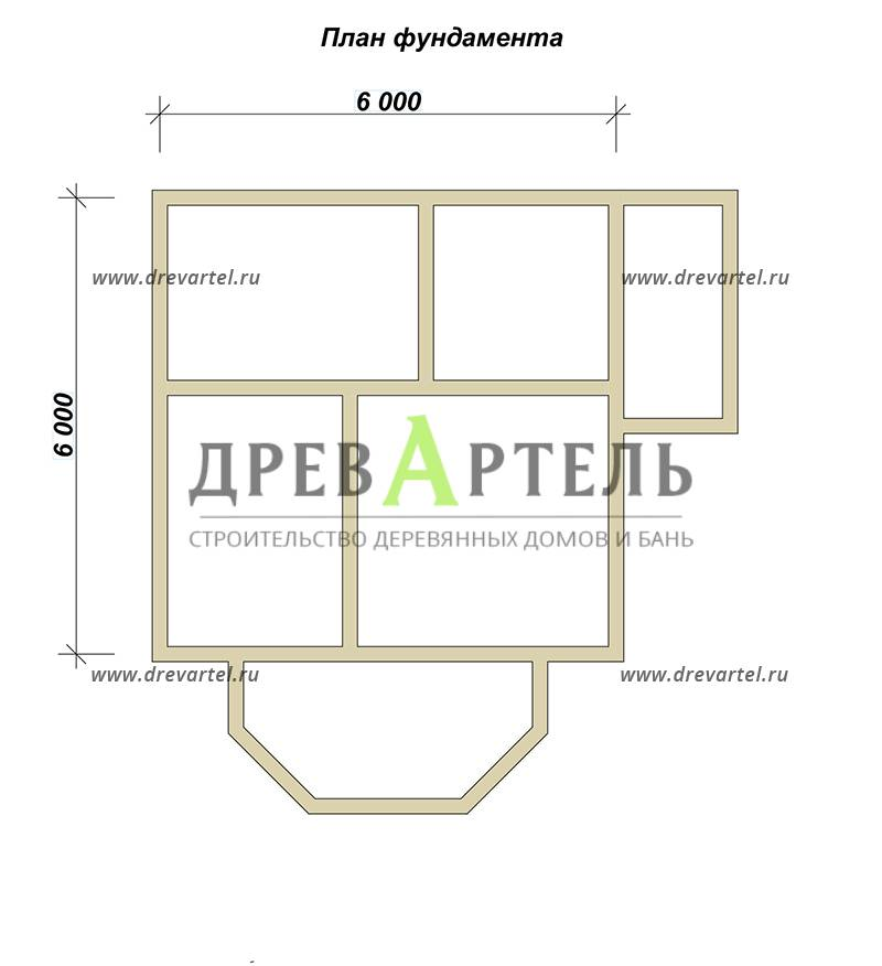 План ленточного фундамента - Дом из бруса 6х8 с мансардой и эркером