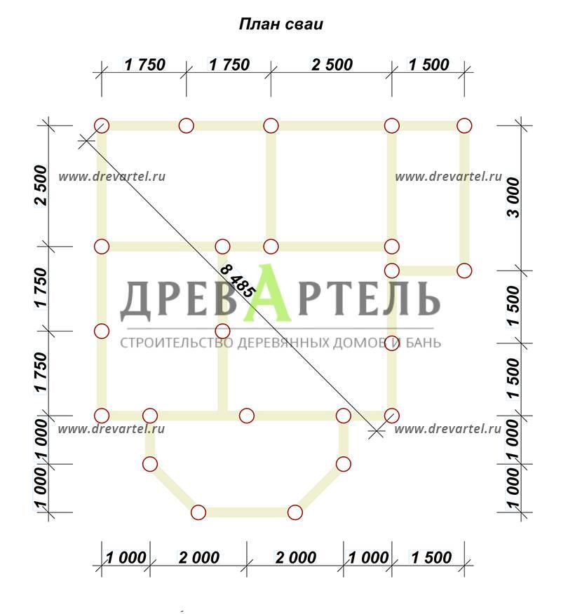 План свайного фундамента - Дом из бруса 6х8 с мансардой и эркером